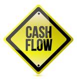 Cash flow yellow sign illustration design. Over white Stock Photo
