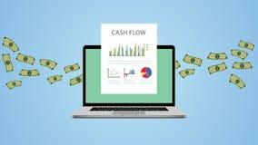Cash flowillustratie met laptop geld en grafiekgrafiek stock illustratie