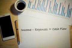 Cash flowverklaring op een wit blad van document tijdens een commerciële vergadering wordt gedrukt die Stock Afbeeldingen