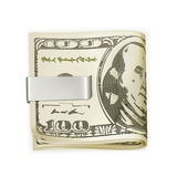 Cash folded in a money clip Royalty Free Stock Photos