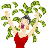 Cash Girl. An image of a girl winning cash Stock Image