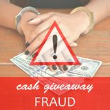 Cash Giveaway Fraud stock photos