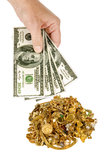 Cash For Gold 1. Everyone needs a little extra money.  Sell some of your unwanted jewelry for cash. Hand holding $100 dollar bills with pile of gold jewelry in Royalty Free Stock Photo