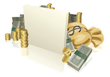 Cash and gold coins sign Stock Images