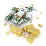 Cash and gold Euro Royalty Free Stock Image