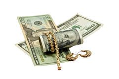 Cash for Gold Jewlery Concept. Concept or Metaphor for selling old gold jewelry for cash royalty free stock photography