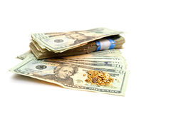 Cash And Gold Nugget Royalty Free Stock Photo