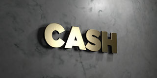 Cash - Gold sign mounted on glossy marble wall  - 3D rendered royalty free stock illustration. This image can be used for an online website banner ad or a Royalty Free Stock Images