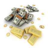 Cash and gold US Royalty Free Stock Images