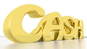 Cash. A golden like word CASH on a white reflective plane Stock Photography