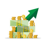 Cash growth. Green arrow. Dollars and coins Royalty Free Stock Photography