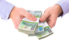 Cash in hand as a loan symbol Stock Image