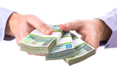 Cash in hand as a loan symbol royalty free stock photography