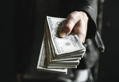 Cash in Hand Bank business person Royalty Free Stock Photography