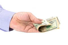 Cash in hand of businessman Royalty Free Stock Photography
