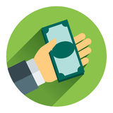 Cash on hand,Vector cartoon business Stock Image