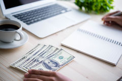 Cash in hands. Profits,savings. Royalty Free Stock Photography