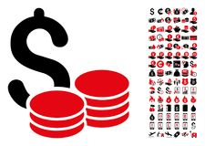 Cash Icon with 90 Bonus Pictograms. Cash icon. Vector illustration style is flat iconic symbols in black and red colors. Bonus contains 90 icons designed for stock illustration