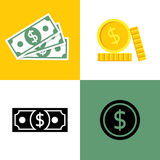 Cash, icons, isolated. On background. Dollar banknotes, coins, in flat style and silhouette. Vector illustration. Money symbol Royalty Free Stock Photo