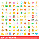 100 cash icons set, cartoon style. 100 cash icons set in cartoon style for any design vector illustration Royalty Free Stock Photo