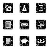 Cash icons set, grunge style Royalty Free Stock Photo