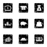 Cash icons set, grunge style. Cash icons set. Grunge illustration of 9 cash vector icons for web Stock Images