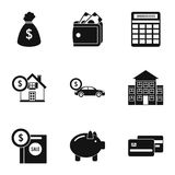 Cash icons set, simple style. Cash icons set. Simple illustration of 9 cash vector icons for web Stock Image