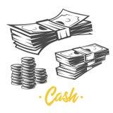 Cash illustration. Black and white objects. Cash illustration. Black and white vector objects vector illustration