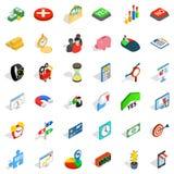 Cash infusion icons set, isometric style. Cash infusion icons set. Isometric set of 36 cash infusion vector icons for web isolated on white background Stock Images