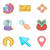 Cash investment icons set, cartoon style. Cash investment icons set. Cartoon set of 9 cash investment vector icons for web isolated on white background Royalty Free Stock Images