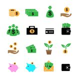 Cash, investment, profit and assets in color icons set. Cash, investment, profit and assets on white in color icons set Royalty Free Stock Photo