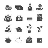 Cash, investment, profit and assets icons set vector. Cash, investment, profit and assets on white icons set vector Stock Photos