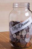 Cash Jar Filled for my Dreams Royalty Free Stock Photo