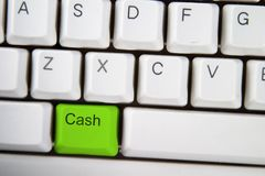 Cash Key. Isolated ALT on from a computer desktop keyboard highlighted in green Royalty Free Stock Photos