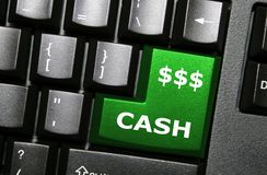 Cash key. Cash special green key on keyboard Royalty Free Stock Images