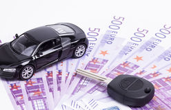 Cash key and car Royalty Free Stock Photo