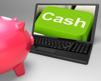 Cash Key On Laptop Showing Money Savings Stock Photo