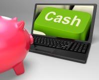 Cash Key Shows Online Finances Earnings. Cash Key Showing Online Finances Earnings And Savings Stock Photography
