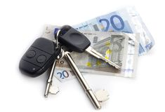 Cash and Keys royalty free stock photography