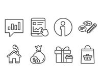 Cash, Keywords and Surprise package icons. Internet report, Analytical chat and Online buying signs. Set of Cash, Keywords and Surprise package icons. Internet Royalty Free Stock Photography