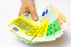 Cash. A lot of money in the hand,photography Stock Photos