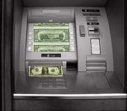 Cash machine. Hole in the wall, cash machine with dollars Stock Images