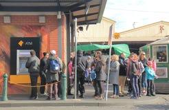 Cash machine ATM queue Melbourne Australia. People queue for ATM in Melbourne Australia Stock Images
