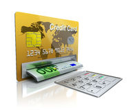 Cash machine in the credit card with EURO banknotes Royalty Free Stock Images