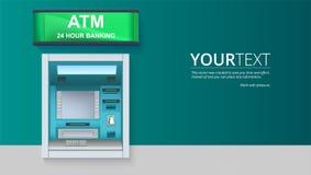 Cash machine della Banca BANCOMAT - Bancomat con lo schermo in bianco ed i dettagli con attenzione tirati sul contesto bianco illustrazione vettoriale