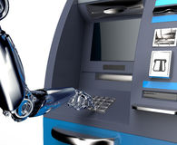 Cash machine di bancomat con la mano del robot isolata su bianco Fotografia Stock