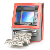 Cash machine with dollars Stock Image