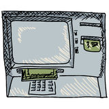 Cash machine. Hand drawn, sketch illustration of cash machine Royalty Free Stock Image
