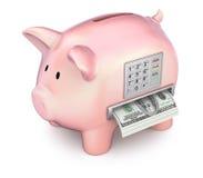 Cash machine nel porcellino salvadanaio Immagini Stock Libere da Diritti