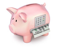 Cash machine in the piggy bank. 3D concept Royalty Free Stock Images